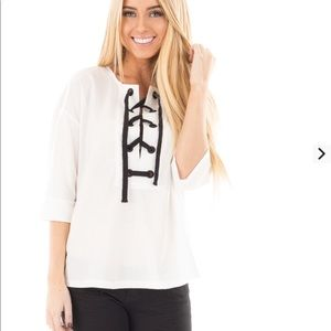 cf29cd7c8c34 Ivory with black thick lace up top. Boutique